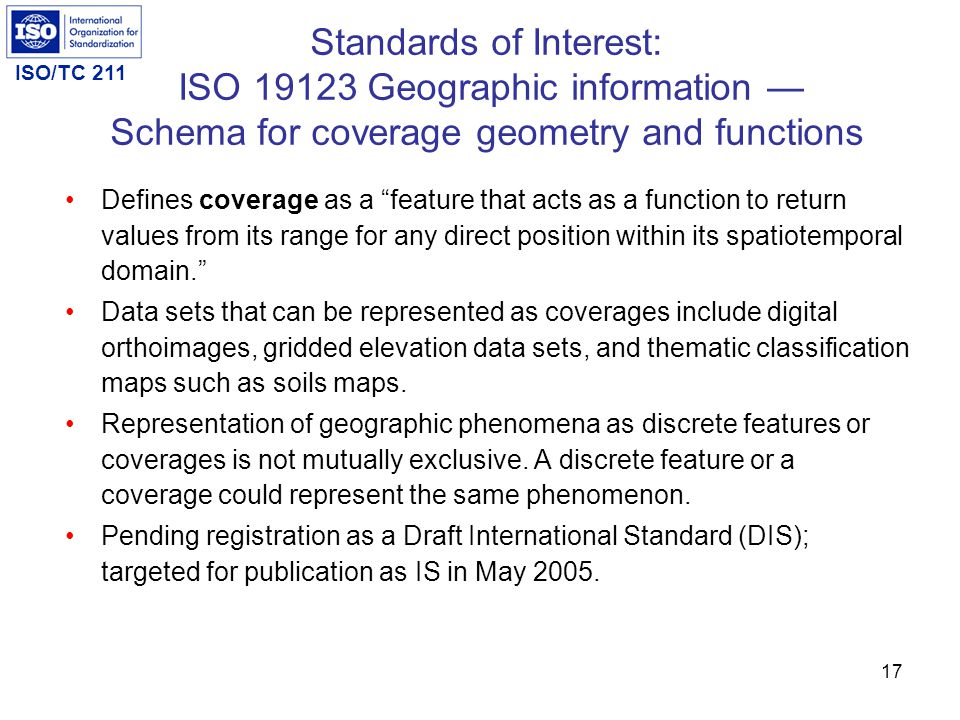 Standards of Interest: ISO 19123 Geographic information — Schema for coverage geometry and functions