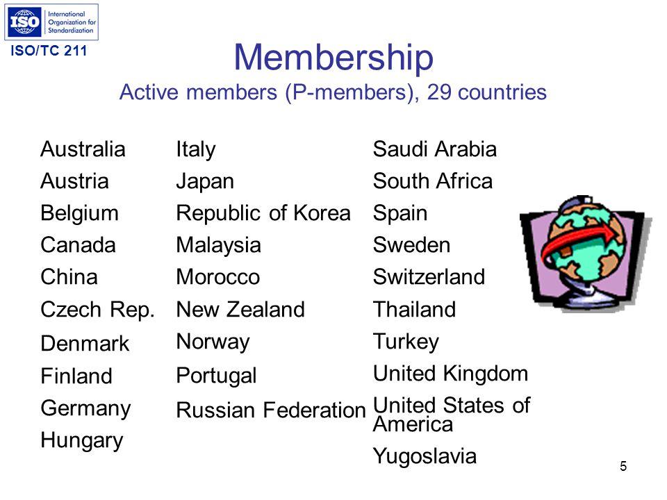 Membership Active members (P-members), 29 countries