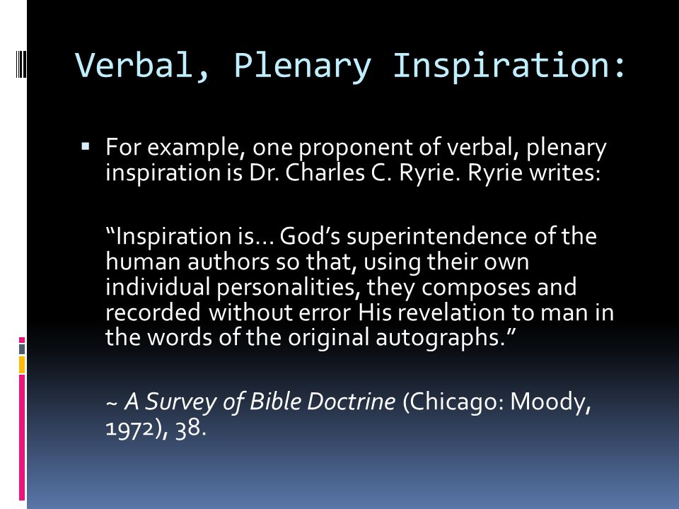 Verbal, Plenary Inspiration: