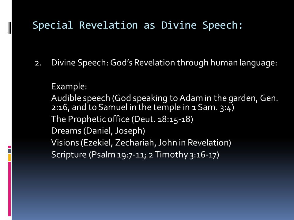Special Revelation as Divine Speech: