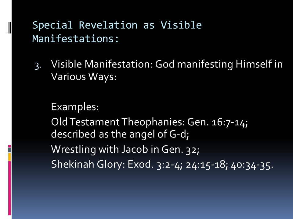Special Revelation as Visible Manifestations: