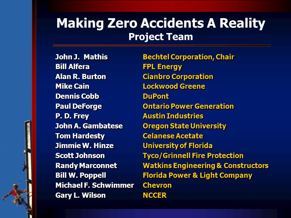 Making Zero Accidents A Reality Project Team