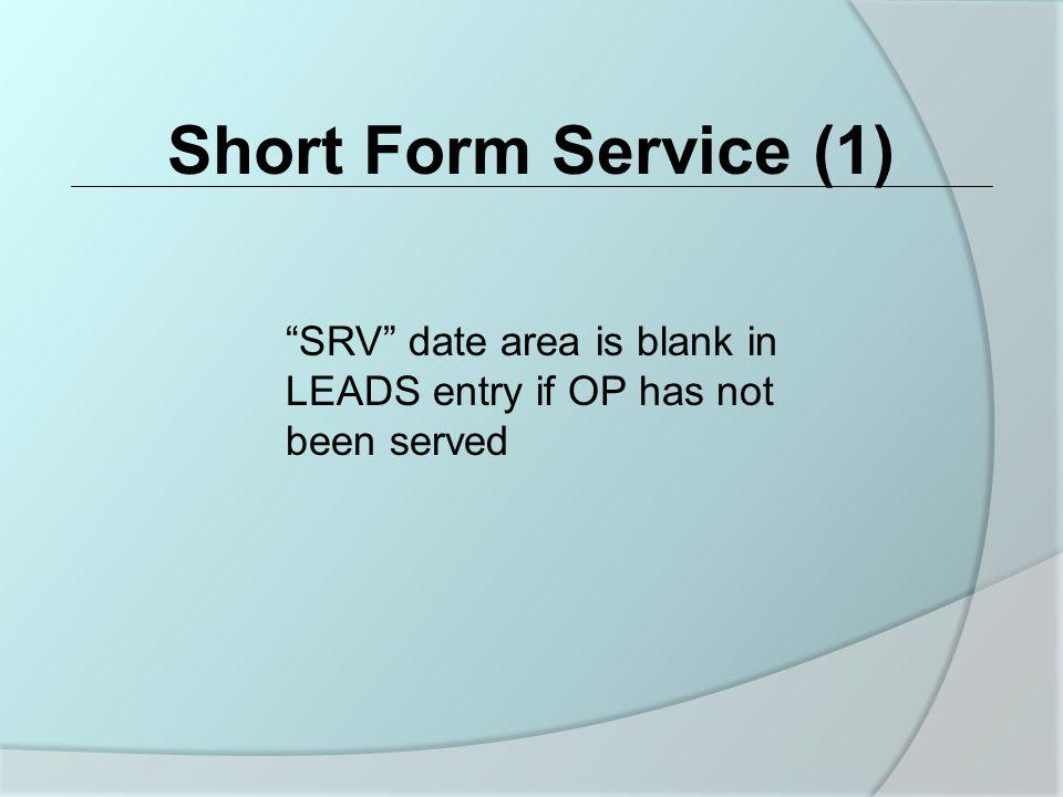 Short Form Service (1) Short Form Service (1)