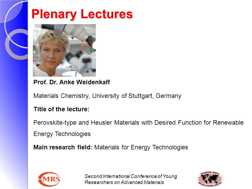 Plenary Lectures Prof. Dr. Anke Weidenkaff