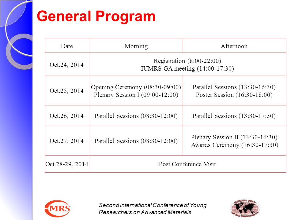 General Program Date Morning Afternoon Oct.24, 2014