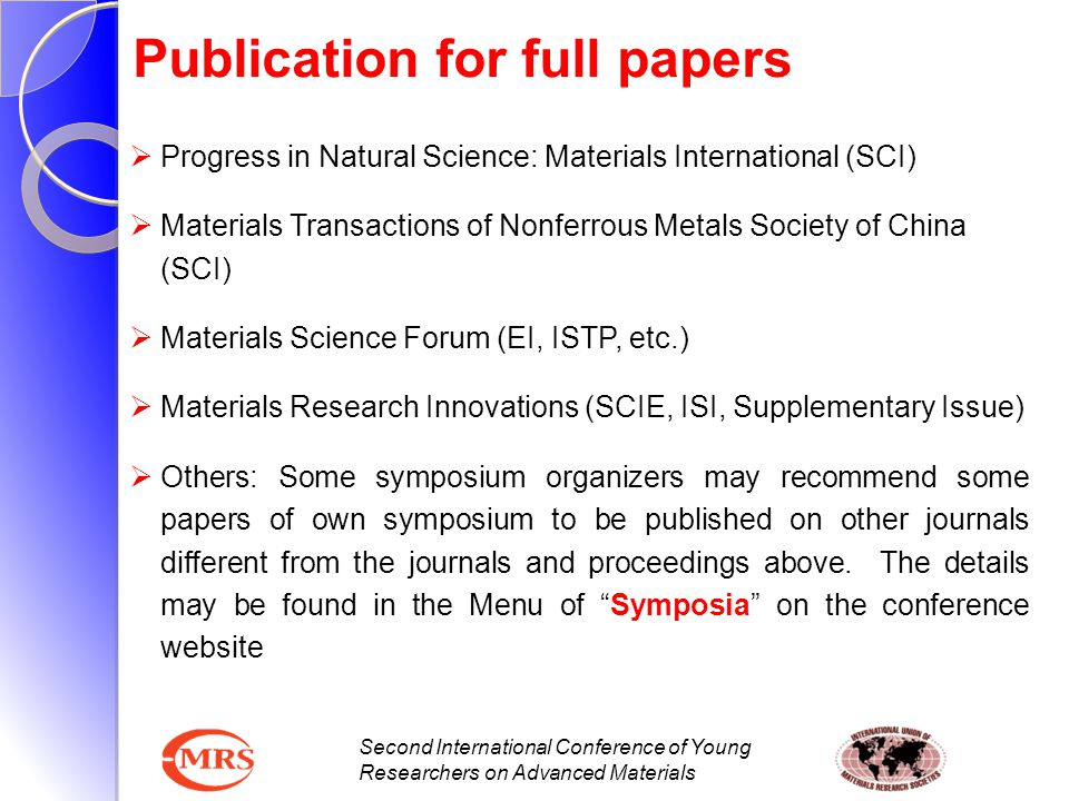 Publication for full papers