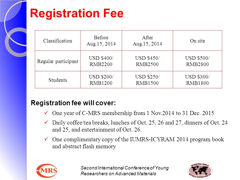 Registration Fee Registration fee will cover: