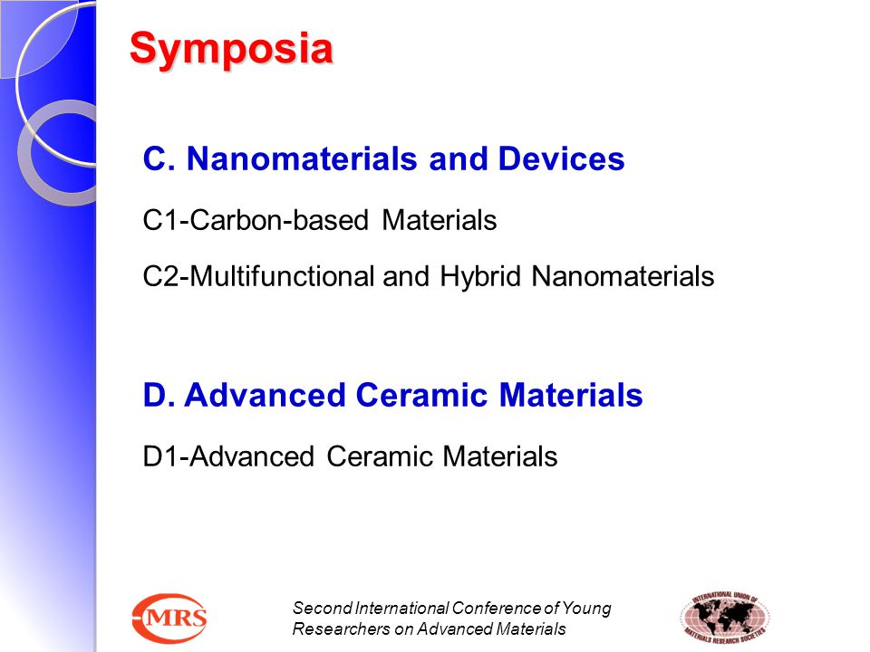Symposia C. Nanomaterials and Devices D. Advanced Ceramic Materials