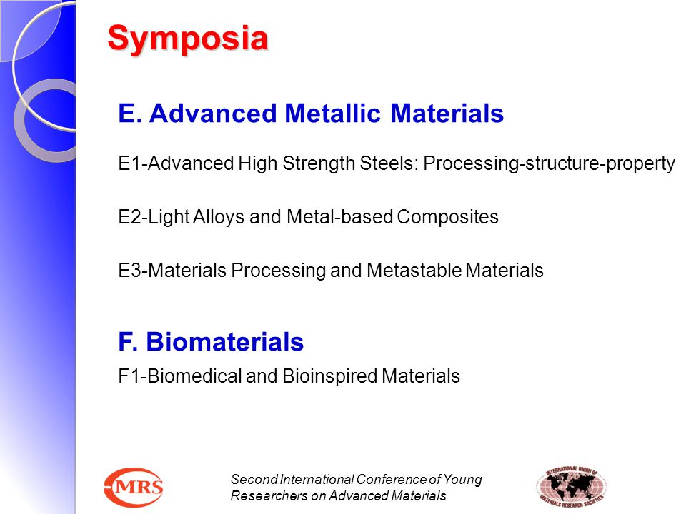 Symposia E. Advanced Metallic Materials F. Biomaterials