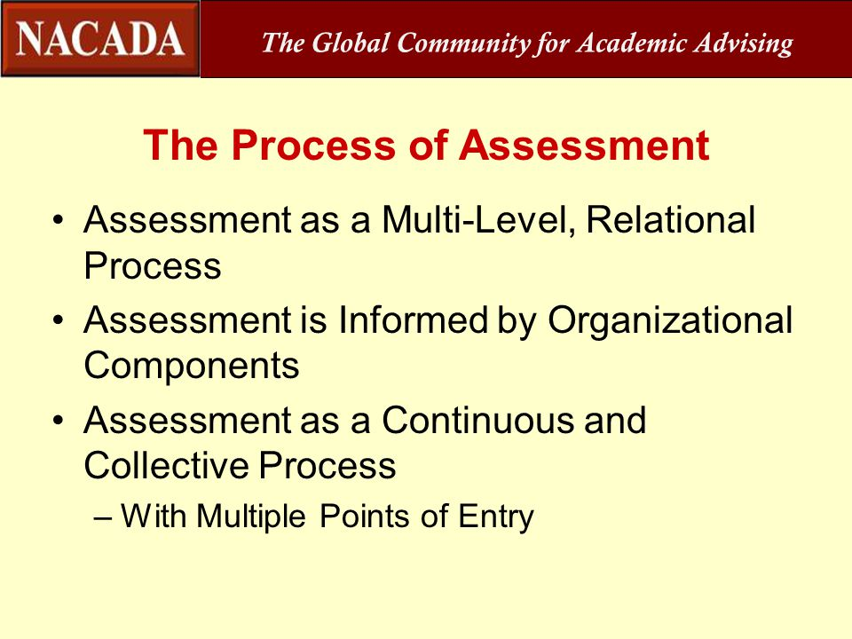 The Global Community for Academic Advising The Process of Assessment