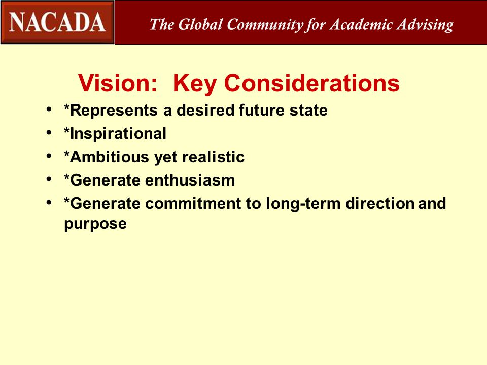 The Global Community for Academic Advising Vision: Key Considerations