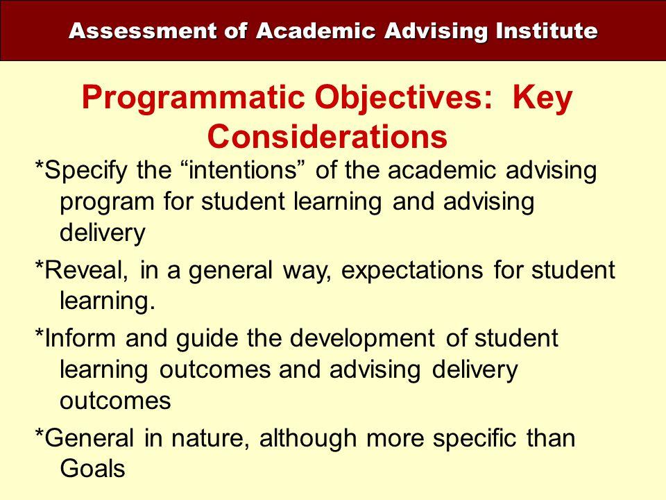 Programmatic Objectives: Key Considerations