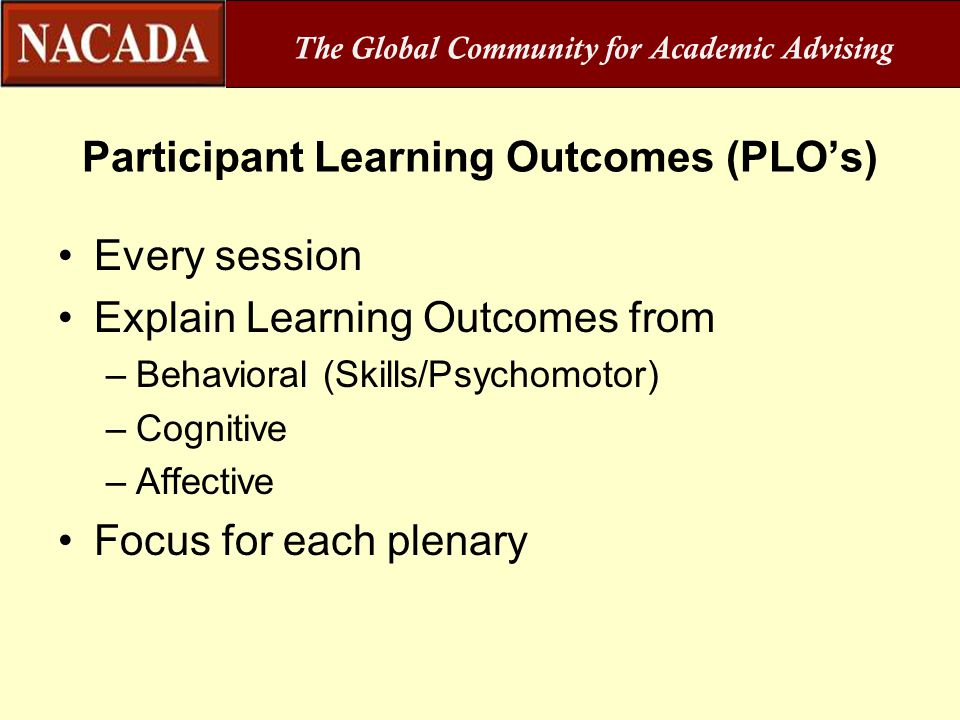 Participant Learning Outcomes (PLO's)