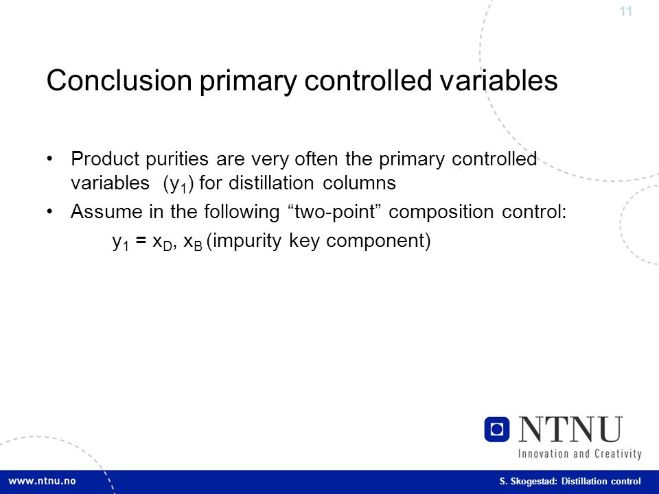 Conclusion primary controlled variables