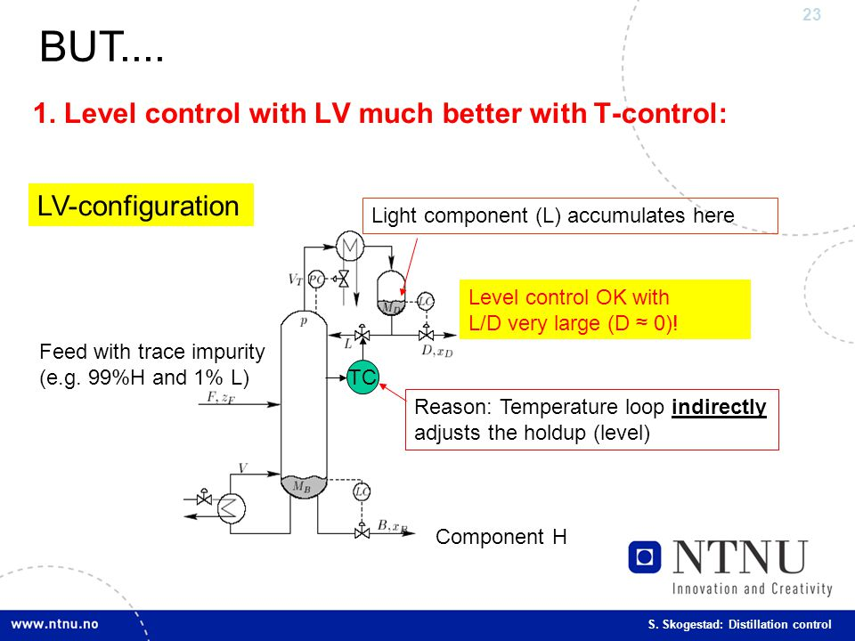 1. Level control with LV much better with T-control: