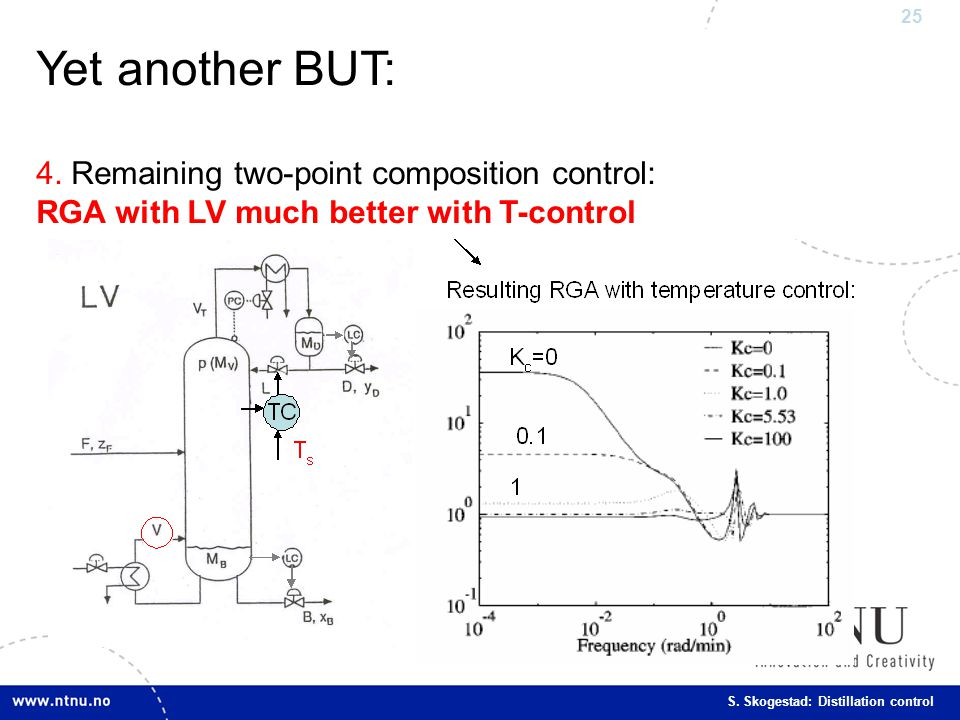 Yet another BUT: 4. Remaining two-point composition control: RGA with LV much better with T-control