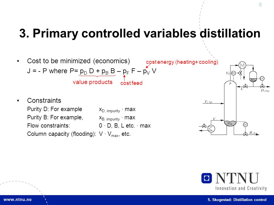3. Primary controlled variables distillation