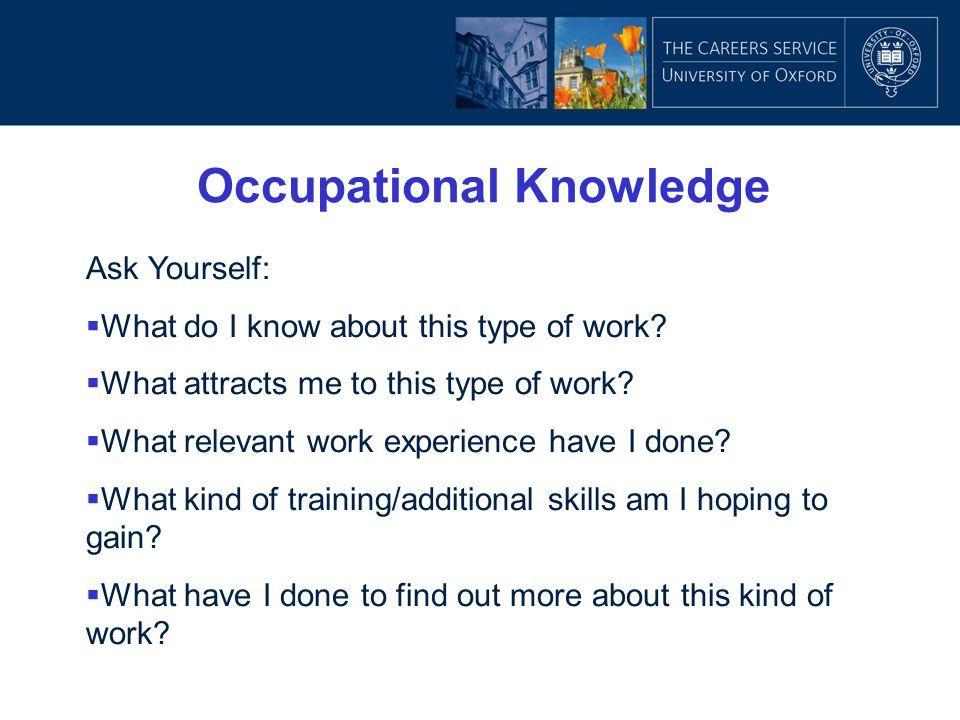 Occupational Knowledge