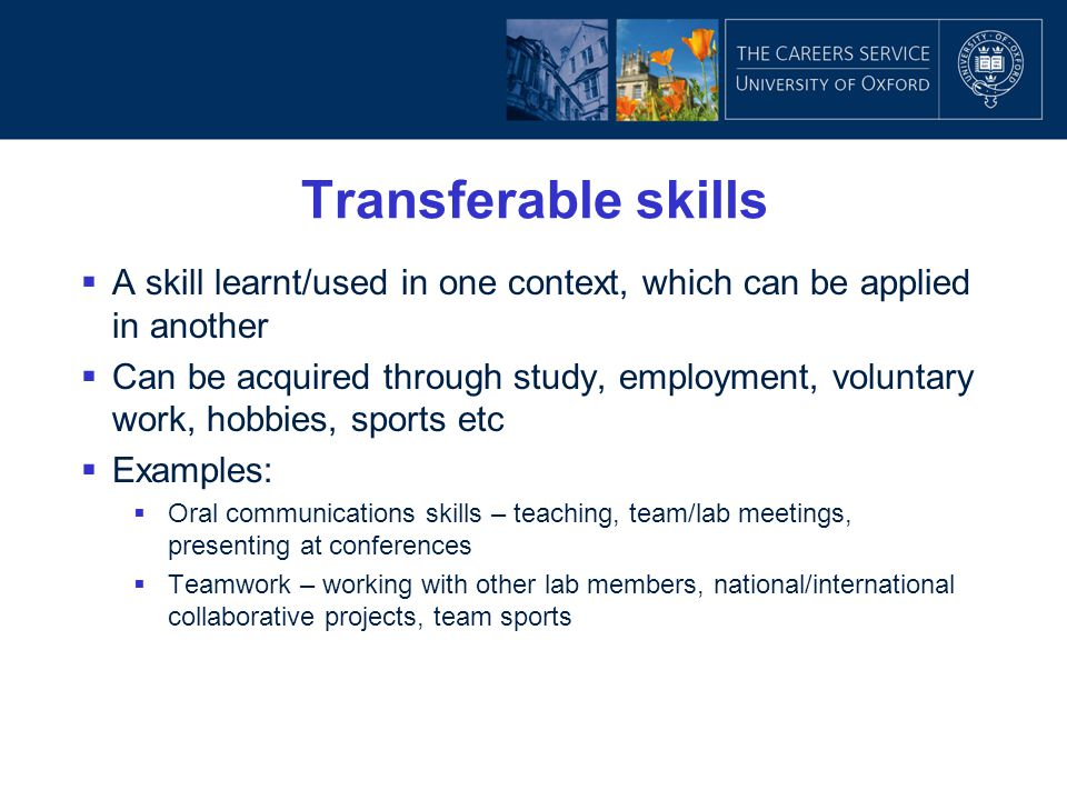 Transferable skills A skill learnt/used in one context, which can be applied in another.