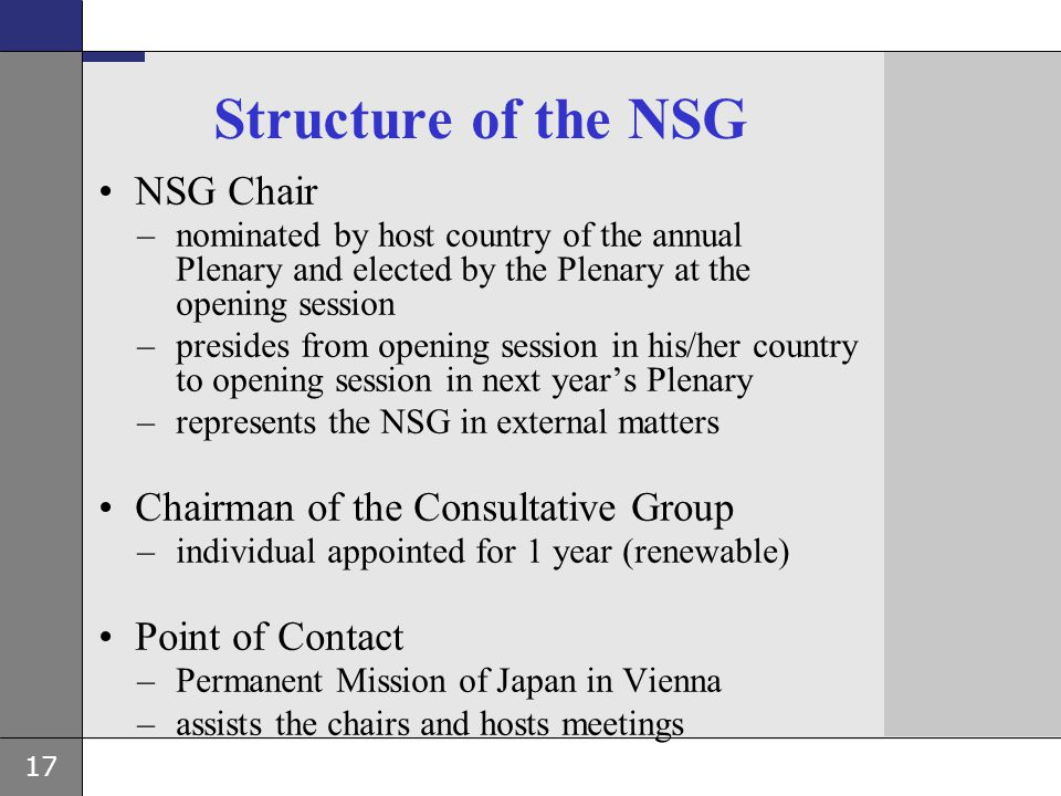 Structure of the NSG NSG Chair Chairman of the Consultative Group