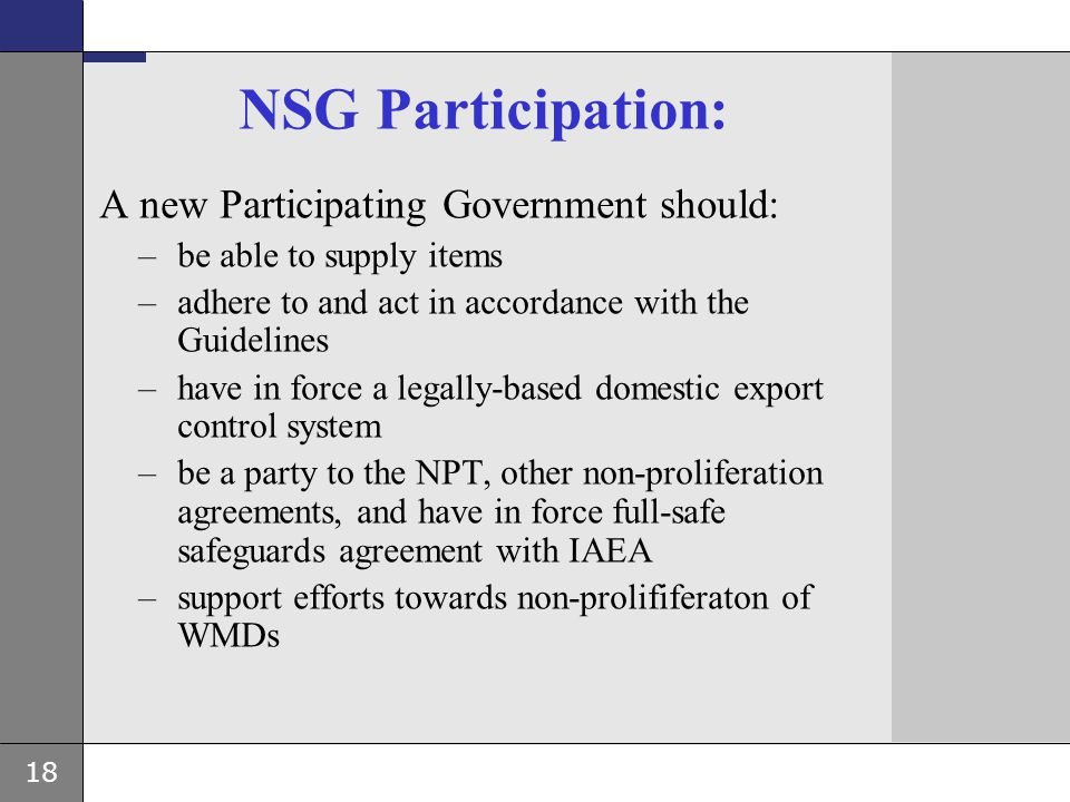 NSG Participation: A new Participating Government should: