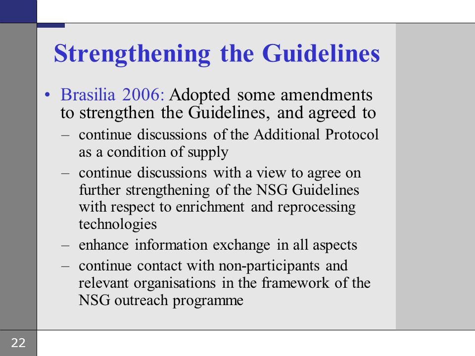 Strengthening the Guidelines