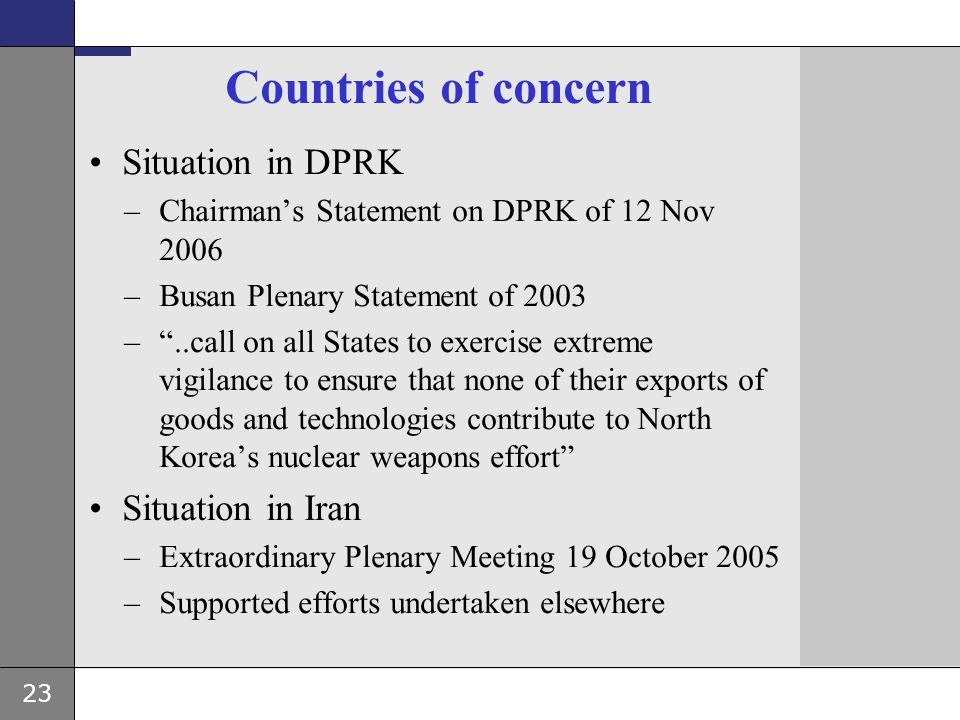 Countries of concern Situation in DPRK Situation in Iran