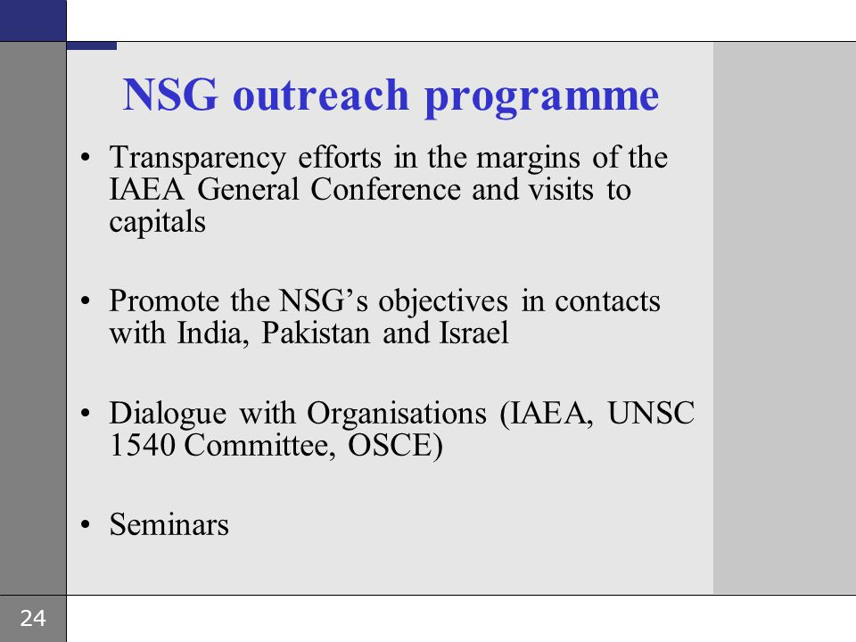 NSG outreach programme
