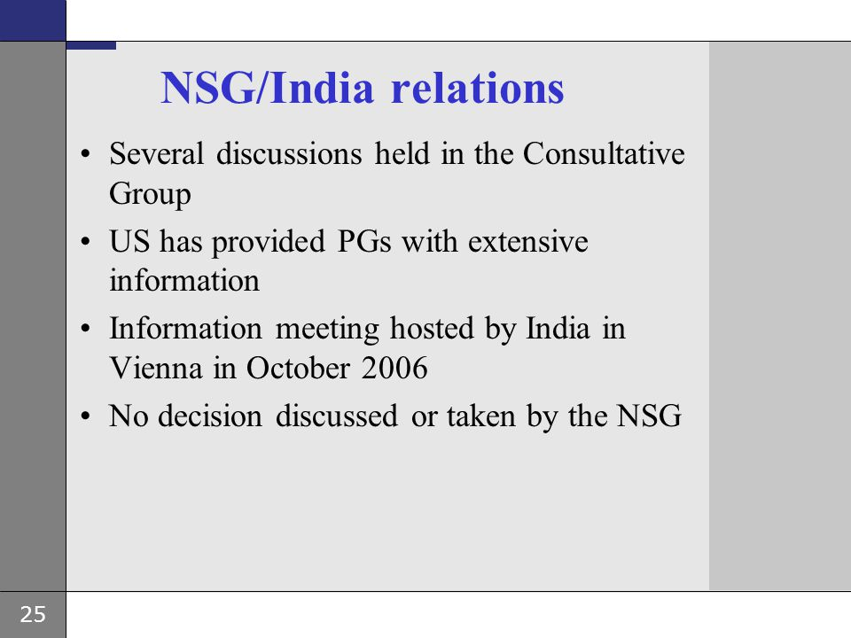 NSG/India relations Several discussions held in the Consultative Group