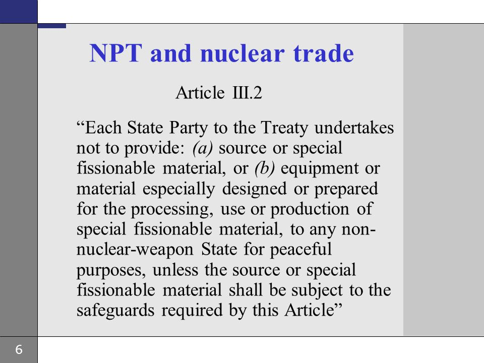 NPT and nuclear trade Article III.2