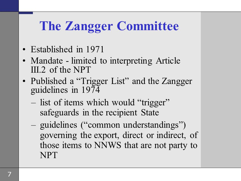The Zangger Committee Established in 1971