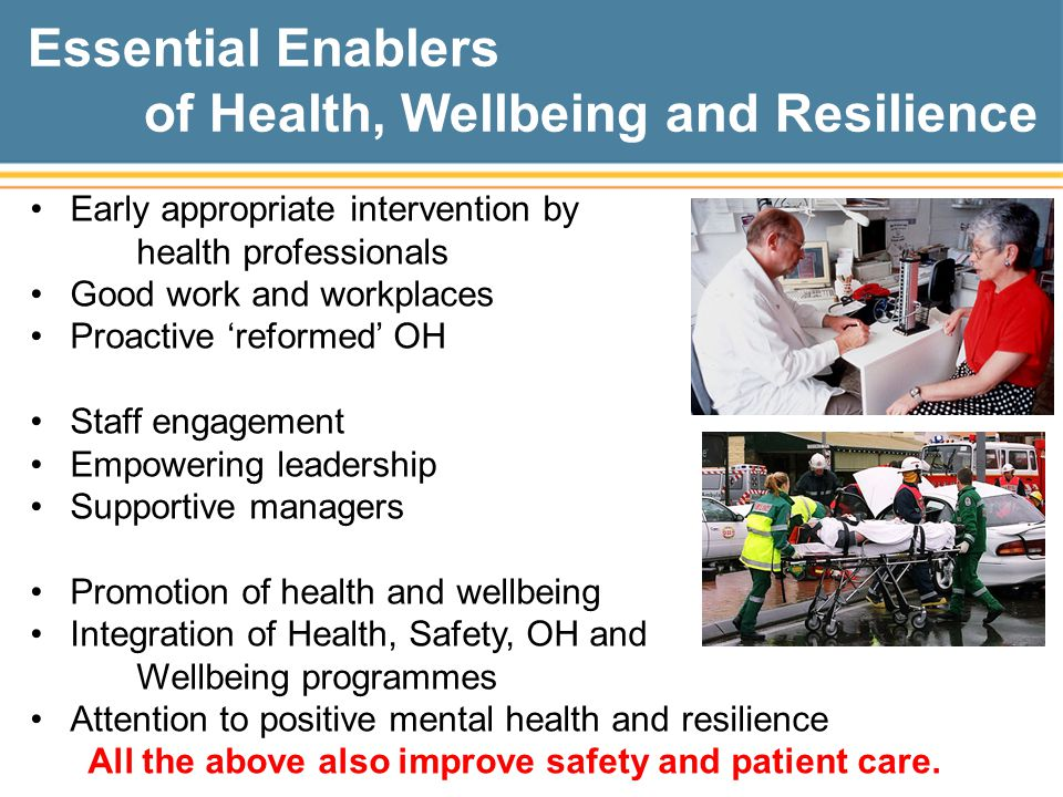 Essential Enablers of Health, Wellbeing and Resilience