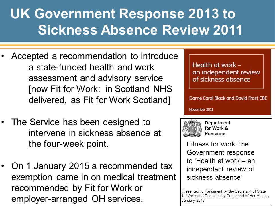 UK Government Response 2013 to Sickness Absence Review 2011