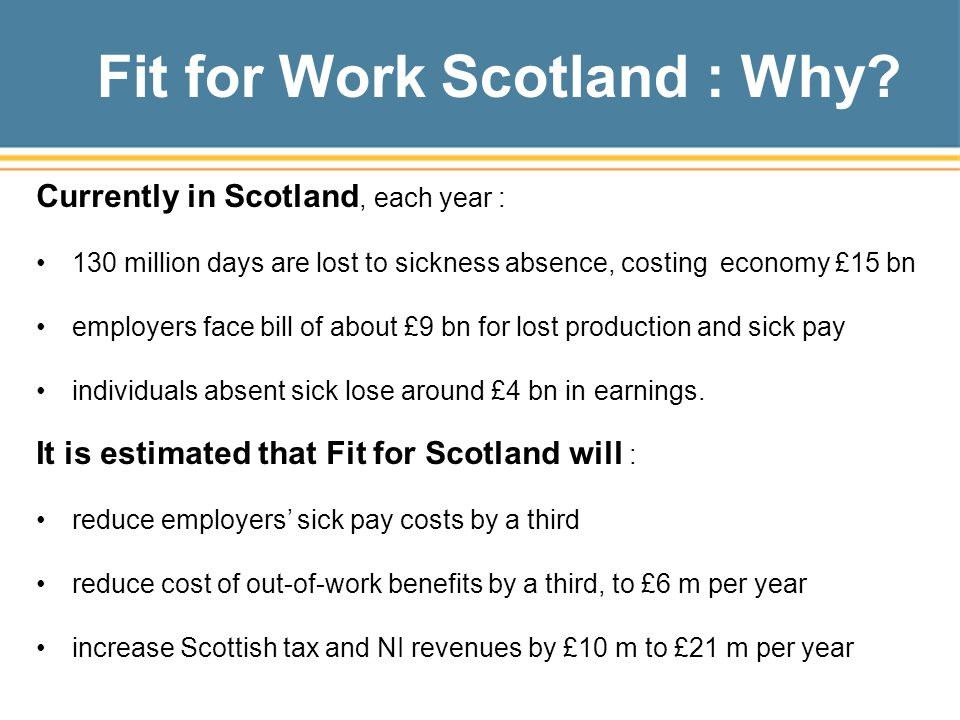Fit for Work Scotland : Why