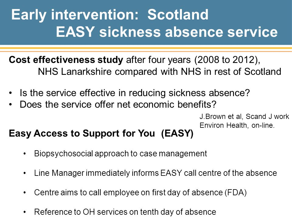 Early intervention: Scotland EASY sickness absence service