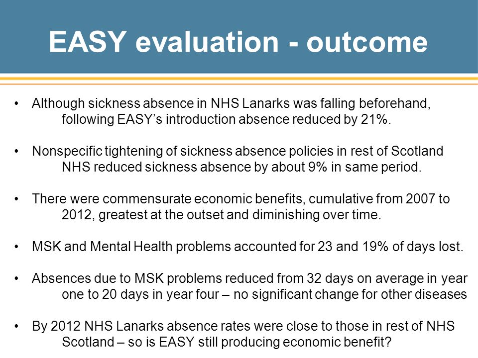 EASY evaluation - outcome