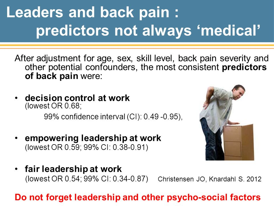 Leaders and back pain : predictors not always 'medical'