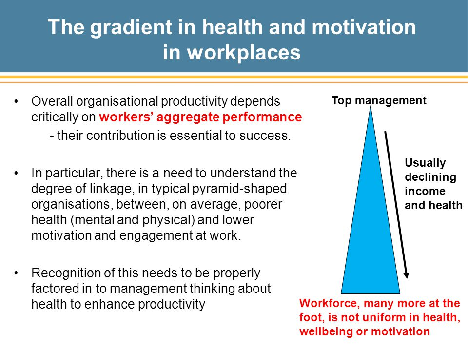 The gradient in health and motivation in workplaces