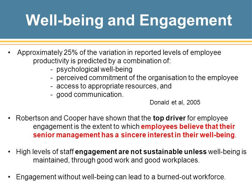 Well-being and Engagement