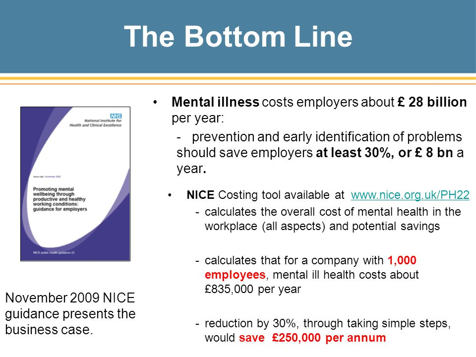 The Bottom Line Mental illness costs employers about £ 28 billion per year: