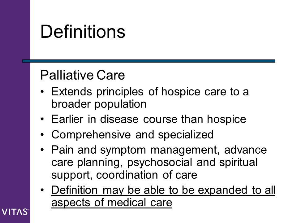 Definitions Palliative Care