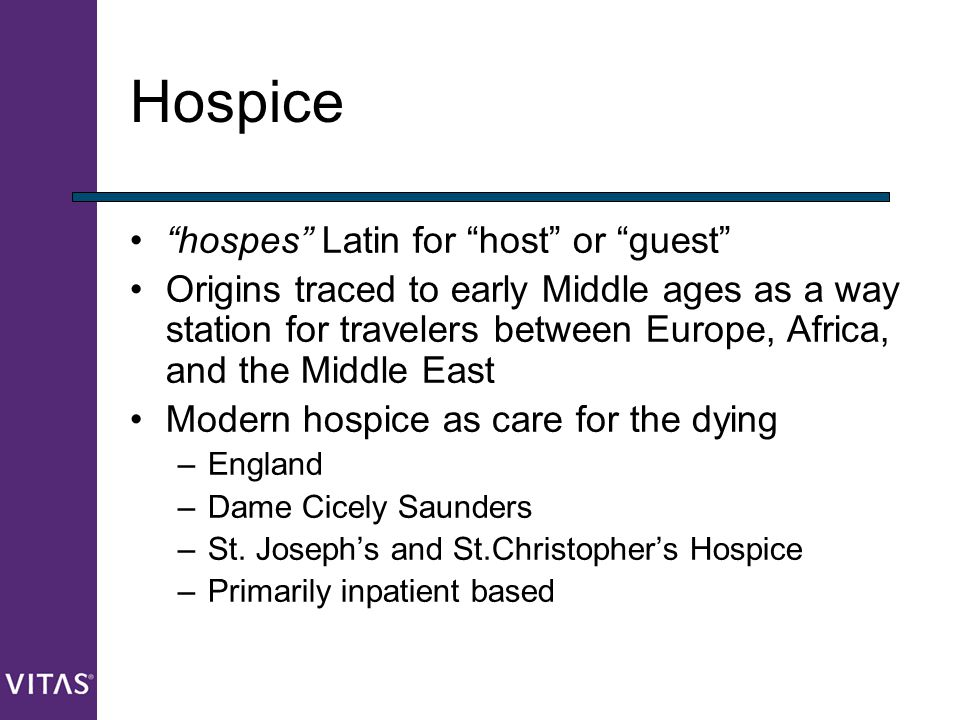 Hospice hospes Latin for host or guest