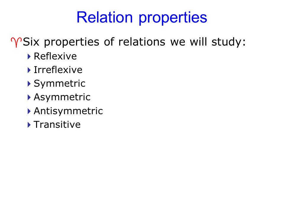 Relation properties Six properties of relations we will study: