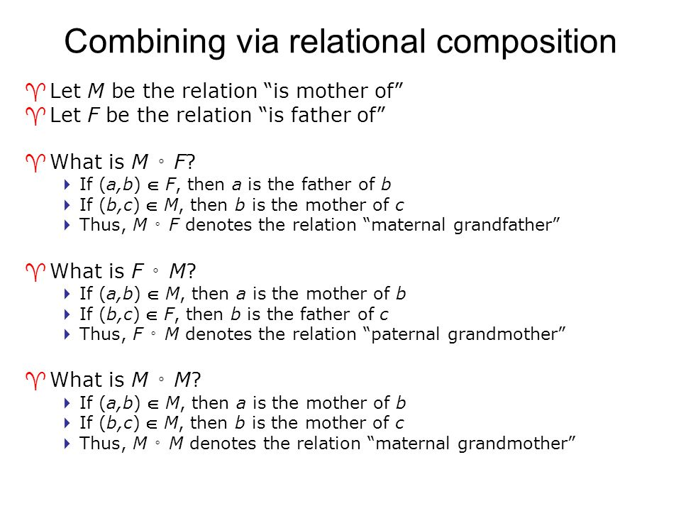 Combining via relational composition