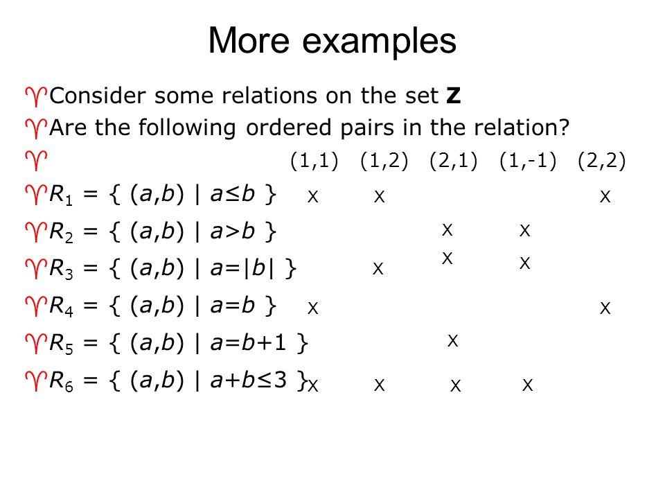 More examples Consider some relations on the set Z