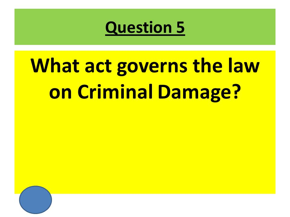 What act governs the law on Criminal Damage