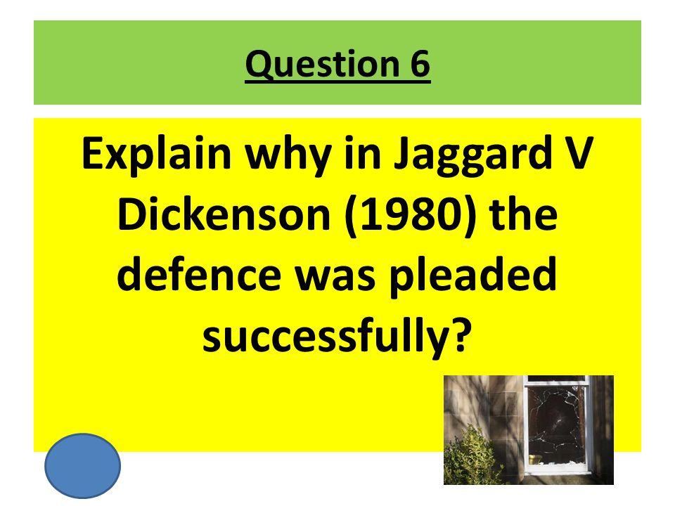 Question 6 Explain why in Jaggard V Dickenson (1980) the defence was pleaded successfully