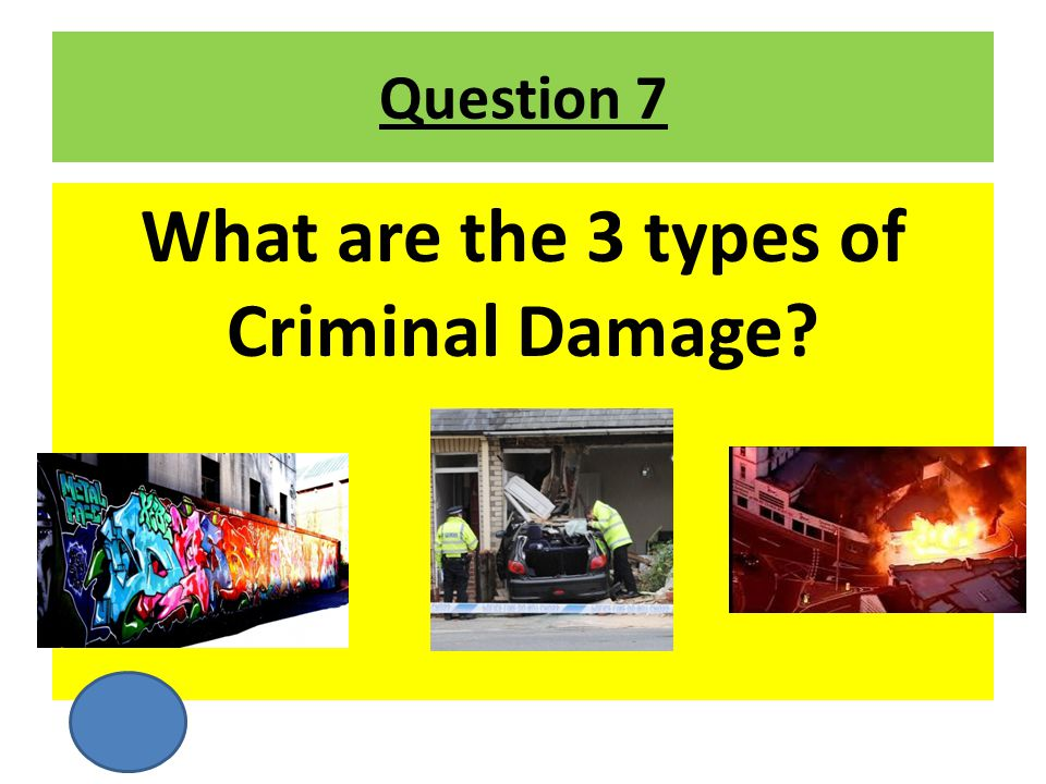 What are the 3 types of Criminal Damage