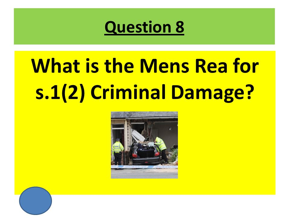 What is the Mens Rea for s.1(2) Criminal Damage