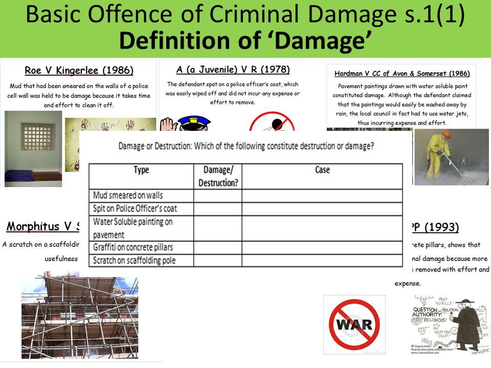 Basic Offence of Criminal Damage s.1(1) Definition of 'Damage'
